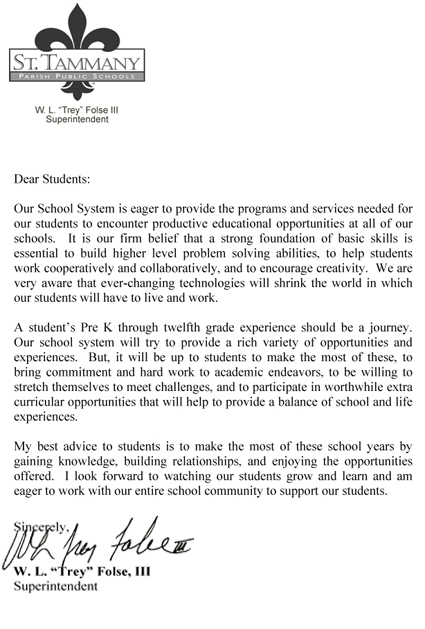 Superintendents Letter